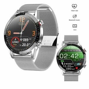 Smart Watch ECG Heart Rate Monitor Activity Tracker Stainless Steel Wristband