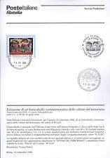 ITALIE 2006 VICTIMES DEL BULLETIN DE TERRORISME COMPLET DE TIMBRES FDC