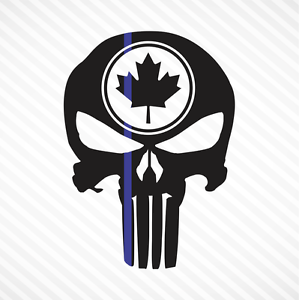 Punisher-Skull-Maple-Leaf-Thin-Blue-Line-Vinyl-Decal-Sticker-Canadian-Police