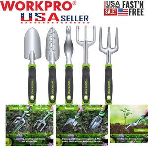 WORKPRO 5pc Garden Tool Set Fork Rake Trowel Weeder Heavy Duty Outdoor Ergonomic