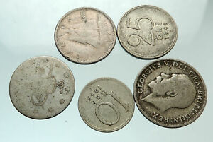 GROUP-LOT-of-5-Old-SILVER-Europe-or-Other-WORLD-Coins-for-your-COLLECTION-i75687