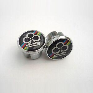 Vintage-Colnago-World-Champion-on-Black-Chrome-Racing-Bar-Plugs-Caps-Repro