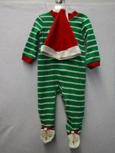 BOYS 6 MONTHS CARTER/'S FOOTED SLEEPER SANTA HAT STRIPED CHRISTMAS PAJAMAS #16324