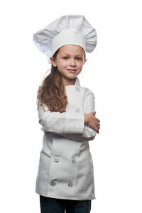 Made in USA! Daystar 950SET Kids White Chef Coat and White Chef Hat Set