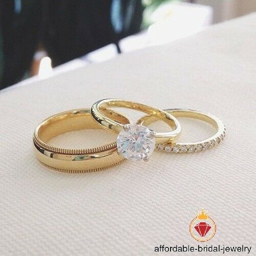 Round Cut Diamond Yellow gold Over Wedding Bridal Engagement Trio Ring Set