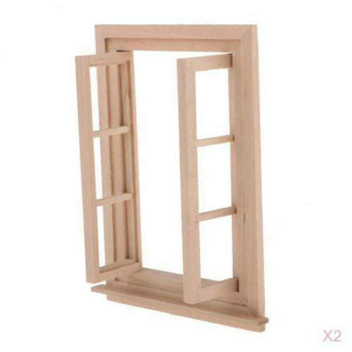 2 Set Unpainted Mini Wood 6-Pane Window Frame for 1//12 Dollhouse DIY Making
