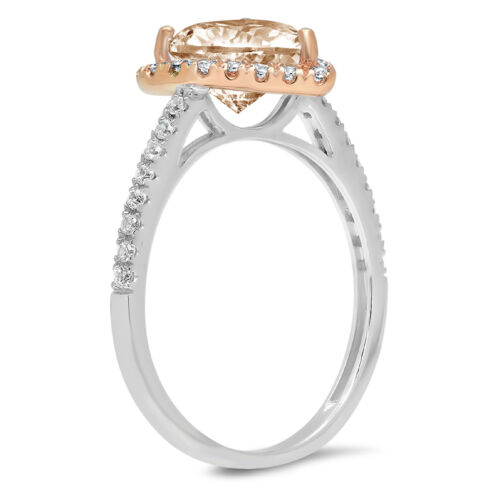 Details about  /2.36 ct Heart Halo Champagne Stone Promise Bridal Wedding Ring 14k 2 Tone Gold