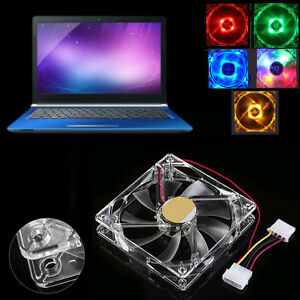 4-Pin-120mm-PC-Computer-Clear-Case-Quad-4-LED-Light-9-Blade-CPU-Cooling-Fan-HZ