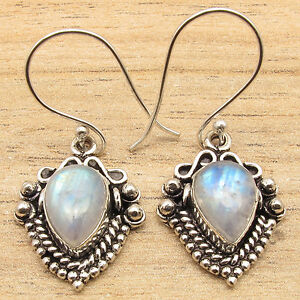 Natural-RAINBOW-MOONSTONE-Drop-Gems-Ethnic-Little-Earrings-925-Silver-Plated