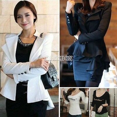 Women Ladies Crop Frill Shift Slim Fit Fitted Peplum Swallow Blazer Jacket Coat