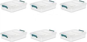 Pestillo-de-almacenamiento-6-Pack-6-2-cuartos-de-galon-contenedor-Caja-Tapa-Transparente-Modular-bin
