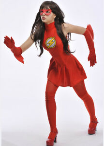 Image is loading Womens-Superhero-The-Flash-Costume  sc 1 st  eBay & Womens Superhero The Flash Costume | eBay