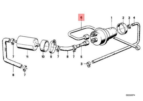 Genuine BMW E12 E21 Saloon Fuel Pipe OEM 16121151474