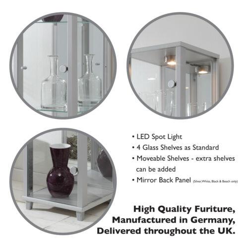 Claveles Corner Curio Cabinet Glass Display Cabinet Oak Effect 4//7 Shelves
