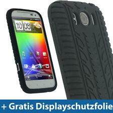 Schwarz SilikonSkin Tasche fürHTC Sensation XLAndroid Hülle Reifenprofil
