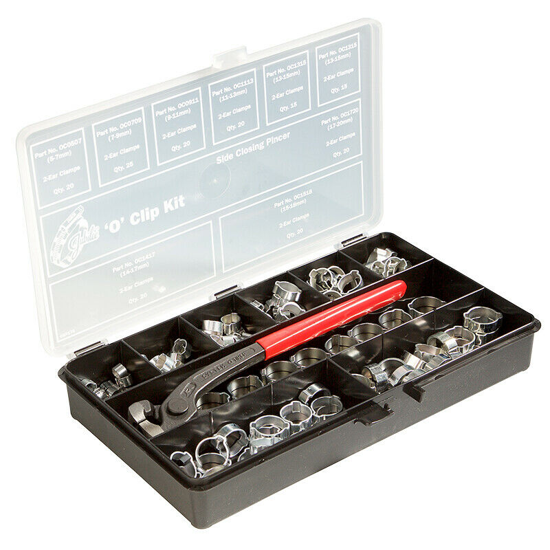 OKP175MS JUBILEE O CLIP KIT WITH PINCER MILD STEEL ZINC PLATED CLIPS