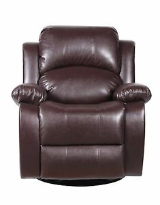 Bonded Leather Rocker And Swivel Recliner Living Room Chair Brown