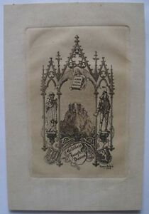1922-HENRY-ANDRE-ENGRAVED-FRENCH-BOOKPLATE-EX-LIBRIS-JOSEPH-DUMAS-BOOK-COLLECTO