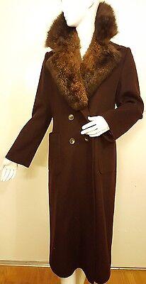 Vtg., Wool, Dark Brown, Faux Fur, Double-breasted, Full Length Coat (Sm) 1970s