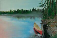 Canoe on a lake oil painting. Original palette knife art of sun,sunset, sunris