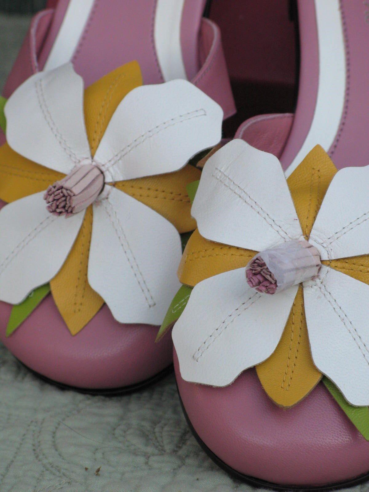 Vis New a Vie Donna Mule/Sandels Shoes Pink Pelle 6.5M New Vis in Box Flower Detail aeed39