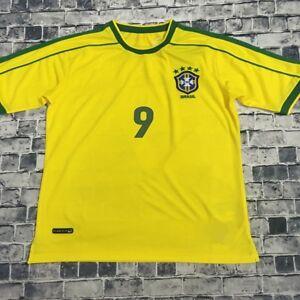 cheaper 40c92 354fe Details about Ronaldo 98 World Cup Brazil Football Soccer Home Yellow  Jersey Shirt