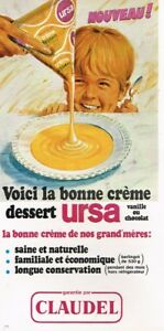 L-Publicite-Advertising-1968-Ursa-la-bonne-Creme-dessert-Claudel