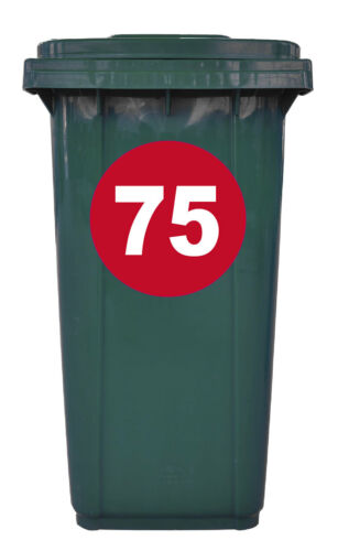 Round Bin Sticker Numbers Red//White Set of 4