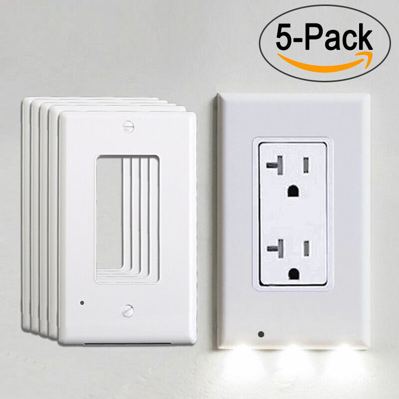 Details About 5x Wall Outlet Cover Plate Led Night Lights Light Sensor On Off Hallway Bedroom