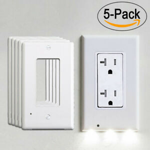 5pcs-Wall-Outlet-Cover-Plate-LED-Night-Lights-Sensor-Auto-ON-OFF-Hallway-Bedroom