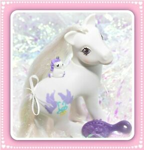 My-Little-Pony-MLP-G1-Vtg-1989-Pony-Bride-Wedding-Bridal-White-Purple-Doves