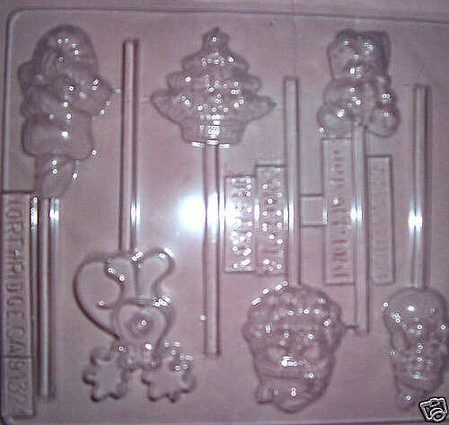 SIX SMALL ASSORTED CHRISTMAS SHAPES CHOCOLATE MOULD OR CHOCOLATE LOLLIPOP MOULD