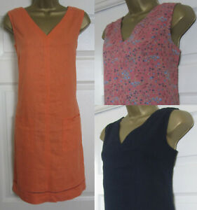 NEW-Next-Shift-Tunic-Dress-Orange-Navy-Black-Linen-Blend-Sleeveless-Summer-8-16