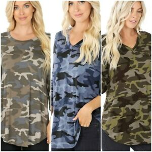 Women-039-s-Camouflage-Print-3-4-Sleeve-Round-Hem-Perfect-Fit-Quality-Top