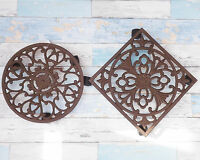 Rustic Brown Cast Iron Ornate Garden Plant Planter Stand Trolley Round or Square