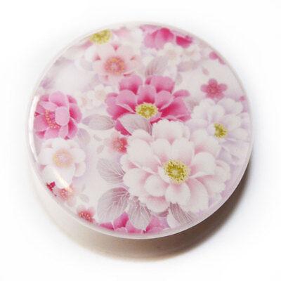 Beautiful Cherry Almond Blossom Flower White PMMA Acrylic Screw-Fit Flesh Plug