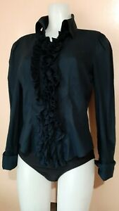 Diane-Von-Furstenberg-Dark-Navy-Ruffled-Blouse-sz-12-on-tag-fits-M