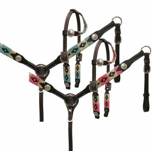 Wrap Embroidered Headstall and Breast Collar Set - Horse Size Teal or Pink