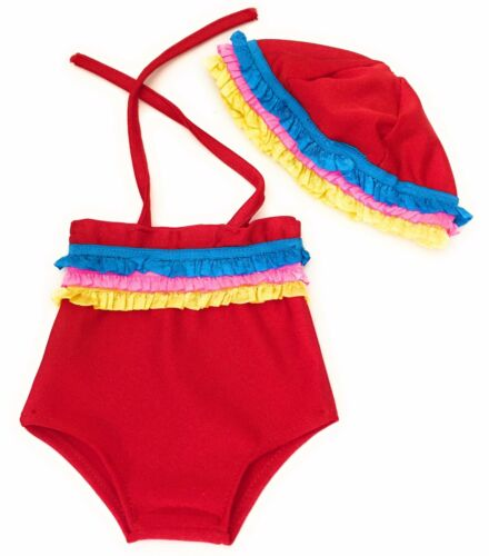 """Red Swimsuit w//Colorful Ruffles /& Swim Cap for 18/"""" American Girl Doll Clothes"""