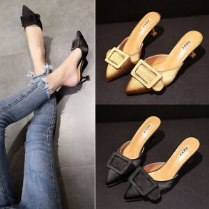 Retro-Women-039-s-Kitten-Heel-Mules-Sandals-Pointed-Toe-Pumps-Casual-Shoes-Slip-On