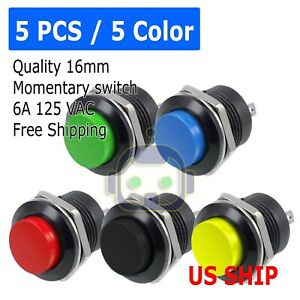 Normally Open Switch >> 5 Color Pcs Normally Open 16mm Round Momentary 2 Pins Metal Push