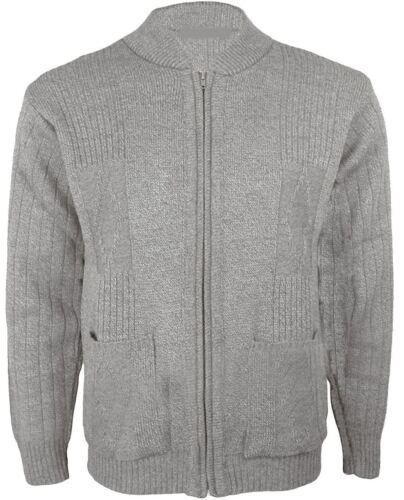 Mens Gents Knitted Vintage Grandad Style Classic Zipper Plain Zip Up Cardigan
