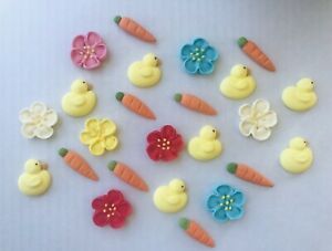 24 Sugar Icing Easter Cupcake Toppers Ducky Carrot & Flowers Decorations Cake