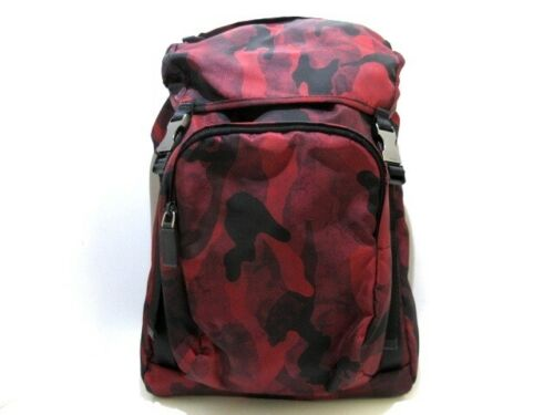 Auth PRADA Red Black Nylon Backpack