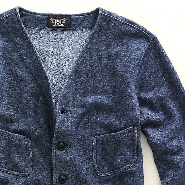 RALPH LAUREN DOUBLE RL RRL WASHED INDIGO Blau FRENCH TERRY CARDIGAN SWEATER 295
