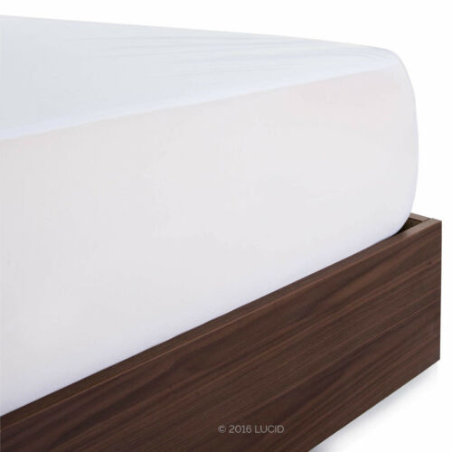 Full Water Proof Mattress Protector White Bed Cover Fitted Sheet 75x54in Rayon