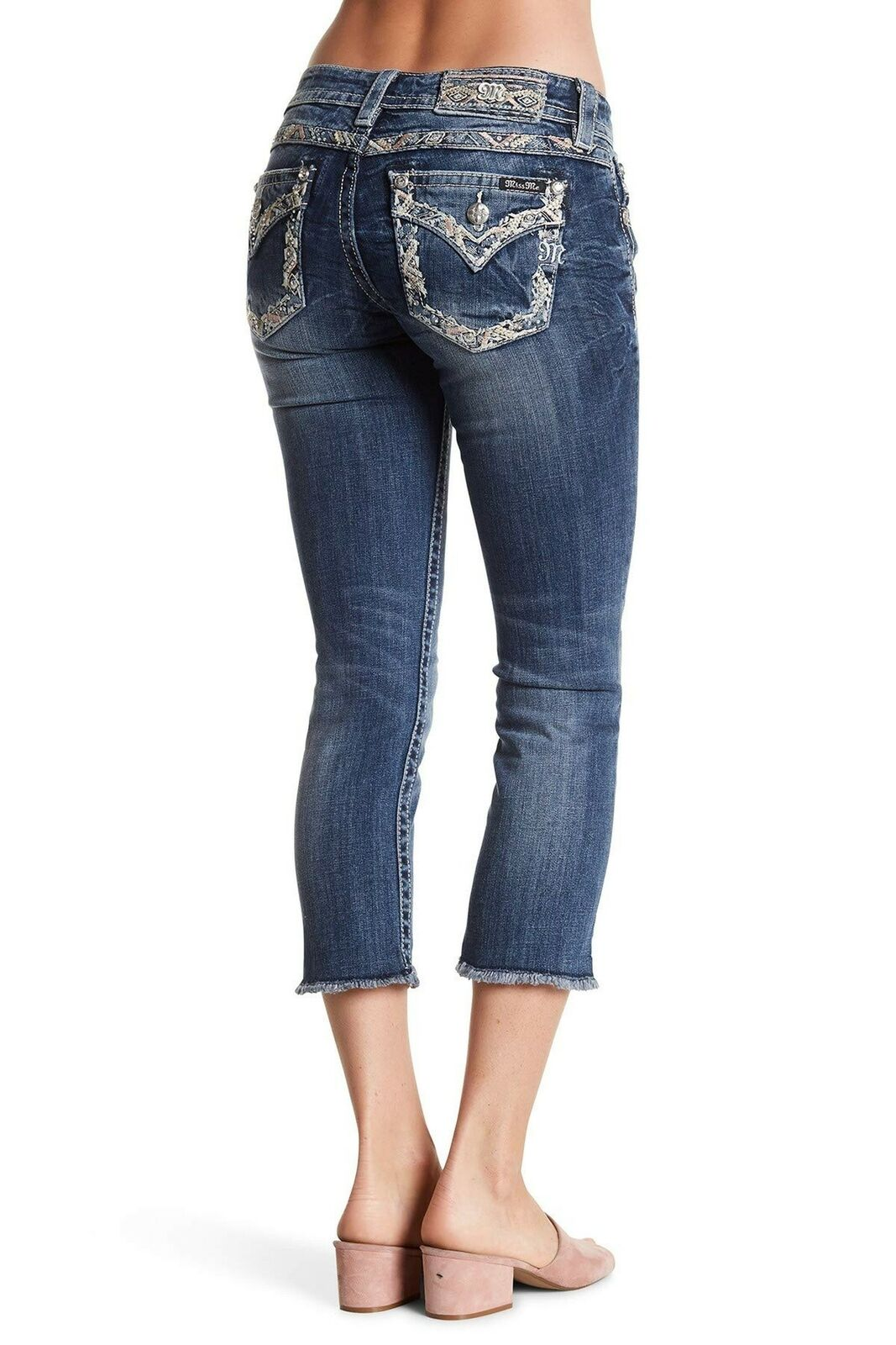 Miss Me Women's Signature Embellished Cropped Jeans (Medium bluee, 22)