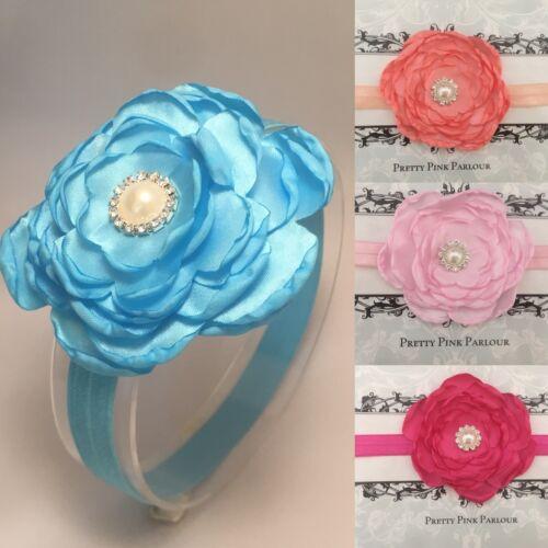 UK Seller Baby Girl Large Satin Flower Elasticated Headband Pink Blue White