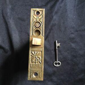 Antique-Nashua-Cast-Bronze-Collectible-Vestibule-Mortise-Lock