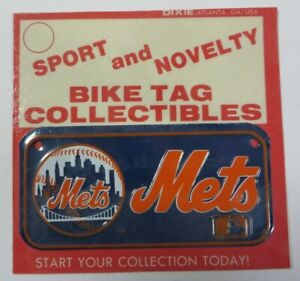 Vtg-1970-039-s-Dixie-MLB-Team-NEW-YORK-METS-Bike-Tag-License-Plate-Bicycle-NOS-NEW